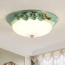 Metal White Ceiling Lamp Bowl 1 Light Pastoral LED Flush Mount Lighting Fixture, 12