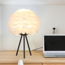 1 Bulb Bedroom Table Light Modernist White Nightstand Lamp with Flower Fabric Shade