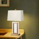 Rectangle Crystal Table Light Modern 1 Bulb Gold Desk Lamp with Pagoda White Fabric Shade