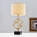 Straight Sided Shade Desk Light Modernist Fabric 1 Head Nightstand Lamp in Gold