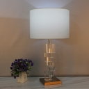 Straight Sided Shade Desk Light Modernist Fabric 1 Bulb Night Table Lamp in White