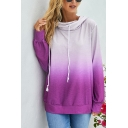 Chic Ladies' Long Sleeve Drawstring Ombre Loose Fit Pullover Hoodie in Purple