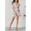Glamorous Ladies' White Short Sleeve Surplice Neck All Over Floral Printed Ruched Tied Waist Mini A-Line Dress