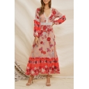 Women's Pink Ethnic Pretty Long Sleeve V-Neck Lace Trim All Over Floral Printed Maxi A-Line Dress