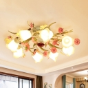 Metal White Ceiling Lamp Spiral 5/8-Light Romantic Pastoral Flower Semi Flush Mount Lighting for Living Room