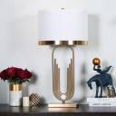 Contemporary 1 Head Task Lighting White Tubular Small Desk Lamp with Fabric Shade