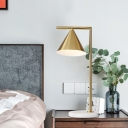 Contemporary 1 Bulb Nightstand Lamp Gold Tapered Reading Book Light with Metal Shade