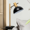 Metal Hemisphere Nightstand Lamp Contemporary 1 Bulb Reading Book Light in Black