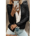 Amazing Bling Bling Ladies' Puff Sleeves Stand Collar Sequined Fitted Plain Jacket
