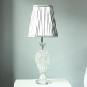 1 Head Jar Desk Light Modern Faceted Crystal Night Table Lamp in Grey for Bedside