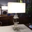 White Rectangle Desk Light Modernist 1 Bulb Fabric Nightstand Lamp with Crystal Base