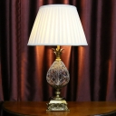 Flared Task Light Modern Fabric 1 Bulb Table Lamp in White with Carved Gold Metal Base