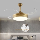4 Blades Modern Drum Semi Flushmount LED Acrylic Hanging Fan Light in Brass for Living Room, 48