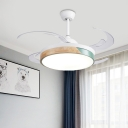 White Circle Hanging Fan Lamp Modernist Acrylic Living Room LED Semi Flush Ceiling Light with 4 Blades, 48