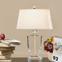 Modernism Urn-Shaped Reading Light Clear Crystal 1 Head Night Table Lamp in White