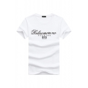 Casual Stylish Men's Short Sleeve Crew Neck Letter RELAX MORE NO Printed Slim Fit T-Shirt