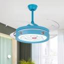 Round Metal Semi Flush Mount Fixture Kids Blue Finish 4 Blades LED Ceiling Fan Lamp for Bedroom, 47