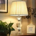 Modernism Vase Fabric Desk Lamp Faceted Crystal 1 Bulb Reading Book Light in Beige
