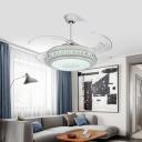 Round Bedroom 4-Blade Ceiling Fan Light Modern Acrylic 48