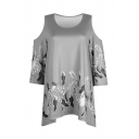 Casual Women's Short Sleeve Cold Shoulder Floral Printed Oversize T Shirt