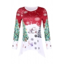 Fashionable Women's Long Sleeve Crew Neck Chrismas Snow Tree Printed Asymmetric Hem Loose Fit T-Shirt
