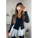 Ladies' Trendy Long Sleeve Surplice Neck Mesh Patchwork Colorblocked Loose Fit T Shirt