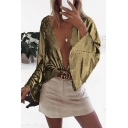 Bling Bling Fashion Ladies' Long Sleeve Metallic Solid Color Relaxed Fit Shirt