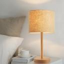 Straight Sided Shade Nightstand Lamp Modern Fabric 1 Head Flaxen Reading Book Light