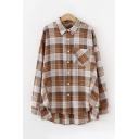 Classic Female Long Sleeve Lapel Collar Button Down Pocket Panel Plaid Pattern Oversize Shirt
