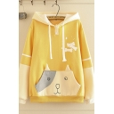 Casual Women's Long Sleeve Drawstring Bone Cat Printed Colorblock Relaxed Cat Ear Hoodie with Pocket