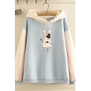 Fancy Girls Long Sleeve Drawstring Japanese Letter Rabbit Graphic Color Block Oversize Hoodie