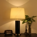 Barrel Fabric Table Light Modern 1 Head White Small Desk Lamp with Black Marble Base