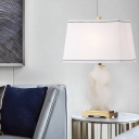 Pagoda Table Light Contemporary Fabric 1 Head White Desk Lamp with Gourd Marble Base