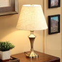 Wide Flare Nightstand Lamp Contemporary Fabric 1 Head Reading Book Light in Flaxen