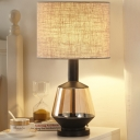 Straight Sided Shade Table Light Modernism Fabric 1 Head Small Desk Lamp in White/Beige
