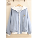 Lovely Girls' Long Sleeve Hooded Zipper Front Rabbit Embroidery Contrasted Loose Fit Jacket