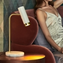 Cylinder Reading Light Contemporary Metal 1 Head White/Blue Nightstand Lamp with Rotating Node