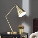 Gold Wide Flare Reading Light Modern 1 Bulb Metal Nightstand Lamp for Living Room