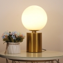 1 Head Global Desk Light Modern Milk Glass Night Table Lamp in Gold with Metal Base