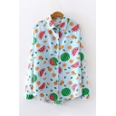Summer Fancy Ladies' Long Sleeve Lapel Collar Button Front All Over Watermelon Lemon Print Fitted Shirt