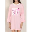 Popular Long Sleeve Lapel Neck Chinese Letter Long Oversize T-Shirt for Women