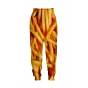Funny Unique Elastic Waist French Fries 3D Printed Cuffed Carrot Trousers in Yellow