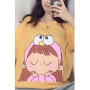 Korean Fashion Short Sleeve Crew Neck Cartoon Girl Cat Print Loose Fit T-Shirt for Girls