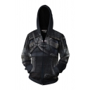 Classic Game Cosplay Costume Long Sleeve Drawstring Zipper Front 3D Pattern Relaxed Fit Hoodie in Black