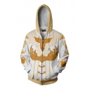 Famous Game Lineage Cosplay Long Sleeve Drawstring Zipper Front 3D Patterned Relaxed Hoodie in White