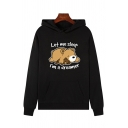 Cute Long Sleeve Bear Letter LET ME SLEEP I'M A DREAMER Graphic Pouch Pocket Loose Hoodie