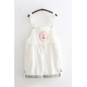 Lovely Preppy Girls Buckle Straps Drawstring Waist Bear Embroidered Striped Cuffed Straight Baggy Suspender Shorts