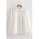 Cute Girls Long Sleeve Peter Pan Collar Button Down Stringy Selvedge Loose Shirt