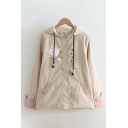 Preppy Girls Long Sleeve Button Down Drawstring Japanese Letter Cat Graphic Contrasted Loose Coat in Khaki