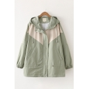Classic Girls Long Sleeve Hooded Drawstring Zip Up Colorblocked Loose Fit Jacket